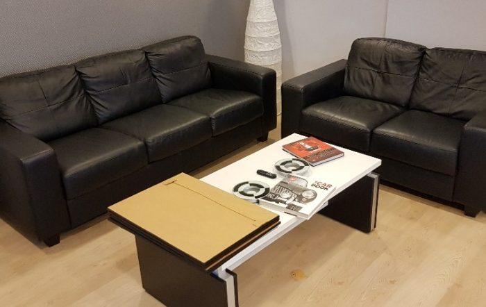 Ofis için ikinci el ikea siyah deri koltuk takımı